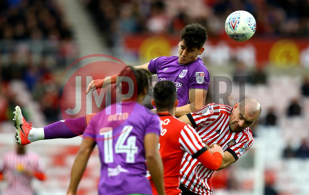 Callum O'Dowda of Bristol City beats Darron Gibson of Sunderland to a header - Mandatory by-line: Robbie Stephenson/JMP - 28/10/2017 - FOOTBALL - Stadium of Light - Sunderland, England - Sunderland v Bristol City - Sky Bet Championship