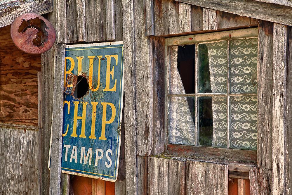 Blue Chip Stamp Sign Wooden Shack - Golden, Oregon - HDR