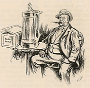 Otto Edward Leopold von Bismarck (1815-1898) German statesman.  Cartoon showing Bismarck as an archetypical German smoking a cigar and sitting at a table beside a huge Beerstein.  From 'The Strand Magazine' (London, 1891).  Engraving.