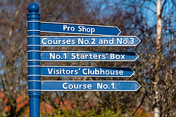 View of sign at  Gullane Golf Club  in East Lothian, Scotland, united Kingdom