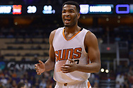 Mar 15, 2017; Phoenix, AZ, USA; Phoenix Suns forward TJ Warren (12) reacts to call made in the first half of the NBA game against the Sacramento Kings at Talking Stick Resort Arena. Mandatory Credit: Jennifer Stewart-USA TODAY Sports