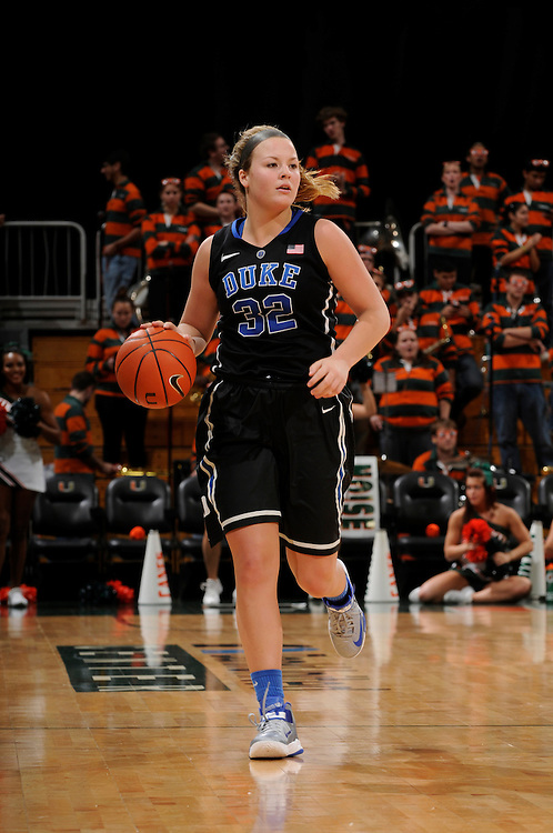 February 28, 2013: Tricia Liston #32 of Duke in action during the NCAA basketball game between the Miami Hurricanes and the Duke Blue Devils at the Bank United Center in Coral Gables, FL. The Hurricanes defeated the Blue Devils 69-65.