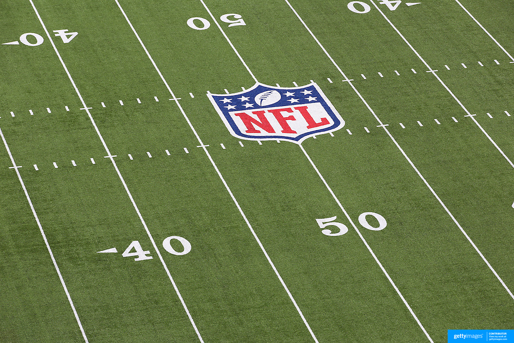 The NFL logo and American Football field marking on the surface of MetLife Stadium during the New York Jets V New England Patriots NFL regular season game at MetLife Stadium, East Rutherford, NJ, USA. 20th October 2013. Photo Tim Clayton