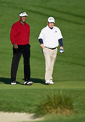 February 14, 2010; Pebble Beach, CA, USA;  Vijay Singh and Tim Clark walk down the fairway on the second hole during the final round of the AT&T Pebble Beach Pro-Am at Pebble Beach Golf Links.