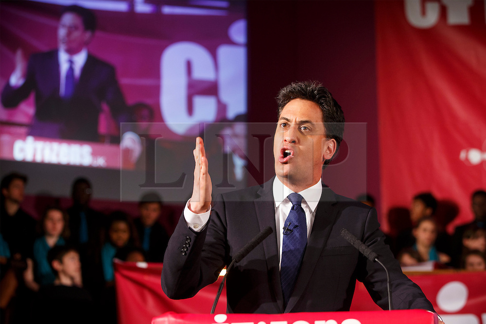 © Licensed to London News Pictures. 04/05/2015. LONDON, UK. Leader of opposition and Labour leader Ed Miliband speaking at Citizens UK's assembly at Westminster Central Hall in London on Monday 4 May 2015. Photo credit : Tolga Akmen/LNP