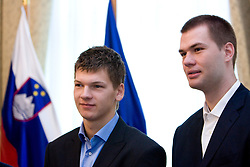 Jaka Klobucar and Uros Slokar of Slovenian basketball national team after Eurobasket 2009 at reception at president of Slovenia dr. Danilo Türk,  on September 28, 2009, in Presernova 8, Ljubljana, Slovenia.  (Photo by Vid Ponikvar / Sportida)