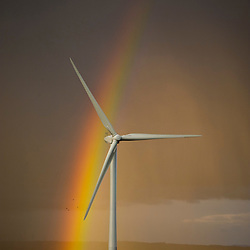 Wind turbine with rainbow