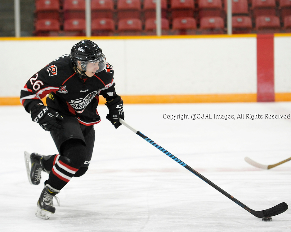 PICKERING, ON - Oct 4, 2015 : Ontario Junior Hockey League game action between, the Pickering Panthers Hockey Club and the Trenton Golden Hawks Hockey Club.  Tiger Mcdonald #26 of the Pickering Panthers skates with the puck during first period game action.<br /> (Photo by Gary Keys / OJHL Images)