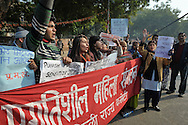 25th Dec. 2012. Demonstrators shout slogans in reaction to the gang-rape of a young medical student in the Indian capital.