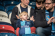 A young Wycombe Wanderers fan during the EFL Sky Bet League 1 match between Rochdale and Wycombe Wanderers at the Crown Oil Arena, Rochdale, England on 28 September 2019.