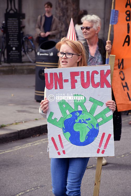 Extinction Rebellion protest outside Royal Courts of Justice in London, blocking the road. The group is campaigning for the government to declare a climate emergency and also blocked roads in Bristol, Cardiff, Glasgow & Leeds. London UK 15 July 2019