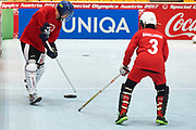 Graz, Austria - 2017 March 18: SO Russia (blue helmets) compete with SO Bangladesh (white helmets) in Floor Hockey while Special Olympics World Winter Games Austria 2017 at Convention Centre Messe Graz on March 18, 2017 in Graz, Austria.<br /> <br /> Mandatory credit:<br /> Photo by &copy; Adam Nurkiewicz / Mediasport<br /> <br /> Adam Nurkiewicz declares that he has no rights to the image of people at the photographs of his authorship.<br /> <br /> Picture also available in RAW (NEF) or TIFF format on special request.<br /> <br /> Any editorial, commercial or promotional use requires written permission from the author of image.<br /> <br /> Image can be used in the press when the method of use and the signature does not hurt people on the picture.