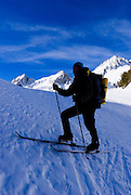 Backcountry skier travering windblown snow in Little Lakes Valley, Inyo National Forest, Sierra Nevada Mountains, California