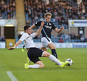 Dundee's Greg Stewart takes on Raith Rovers' Ross Perry - Dundee v Raith Rovers, Scottish League Cup at Dens Park<br /> <br />  - &copy; David Young - www.davidyoungphoto.co.uk - email: davidyoungphoto@gmail.com