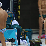 USA swimmer Michael Phelps (right) and Ryan Lochte training with the USA team at the Aquatic Centre at Olympic Park, Stratford during the London 2012 Olympic games preparation at the London Olympics. London, UK. 24th July 2012. Photo Tim Clayton