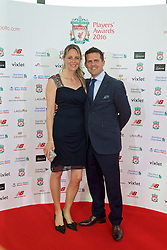 LIVERPOOL, ENGLAND - Thursday, May 12, 2016: Liverpool's Matthew Baxter and his partner arrive on the red carpet for the Liverpool FC Players' Awards Dinner 2016 at the Liverpool Arena. (Pic by David Rawcliffe/Propaganda)