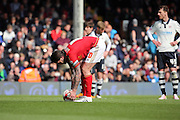 Nottingham Forest midfielder Henri Lansbury (10) placing ball for penalty during the Sky Bet Championship match between Fulham and Nottingham Forest at Craven Cottage, London, England on 23 April 2016. Photo by Matthew Redman.