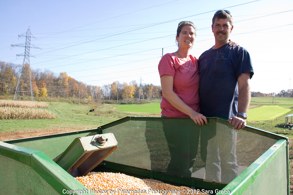 Ami Gignac and Tim Fox are all smiles after their gamble with a new heirloom corn variety pays off with a big yield.