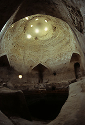 Interior of historic water well near Safwa, Saudi Arabia.