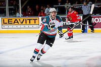 KELOWNA, CANADA - APRIL 19: Cole Linaker #26 of the Kelowna Rockets skates against the Portland Winterhawks on April 18, 2014 during Game 2 of the third round of WHL Playoffs at Prospera Place in Kelowna, British Columbia, Canada.   (Photo by Marissa Baecker/Shoot the Breeze)  *** Local Caption *** Cole Linaker;