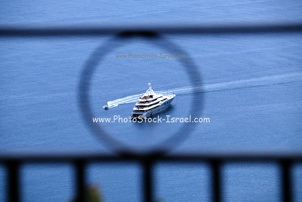 Ferryboat on rout to of Taormina, Sicily, Italy