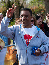 Retired boxer Michael Watson taking part in a one mile run for Sport Relief charity in London, 25th March 2012.  Photo by: i-Images