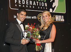 LONDON, ENGLAND - Monday, December 16, 2013: Liverpool's Luis Suarez and his wife Sofia Balbi after receiving the Player of the Year Award at the Football Supporters Federation Awards Night at the Emirates Stadium. (Pic by Steve Welsh/William Hill/Propaganda).