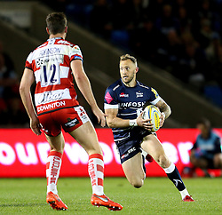 Byron McGuigan of Sale Sharks attacks against Mark Atkinson of Gloucester Rugby  - Mandatory by-line: Matt McNulty/JMP - 16/09/2016 - RUGBY - Heywood Road Stadium - Sale, England - Sale Sharks v Gloucester Rugby - Aviva Premiership