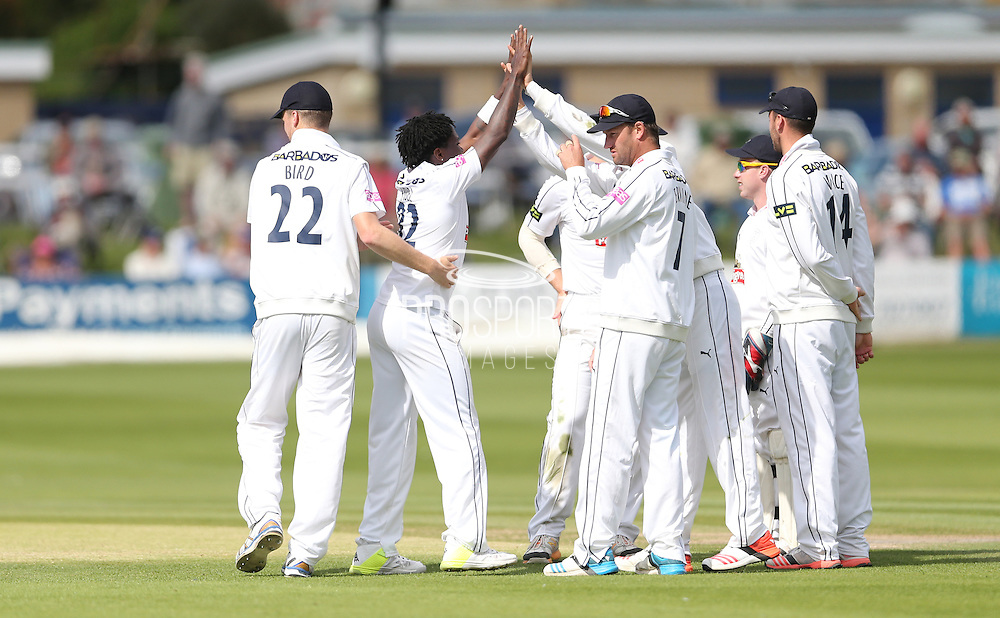 Fidel Edwards celebrates taking the wicket of Matt Machan during the LV County Championship Div 1 match between Sussex County Cricket Club and Hampshire County Cricket Club at the BrightonandHoveJobs.com County Ground, Hove, United Kingdom on 8 June 2015.