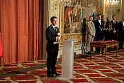 PRESIDENT NICOLAS SARKOZY. Legion d'honneur awards. Elysee Palace, Presidence. Rue du Faubourg. 50 Rue de la Bienfaisance. Paris. 07 April 2010