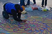 Artist Joe Mangrum at work in Washington Square Park
