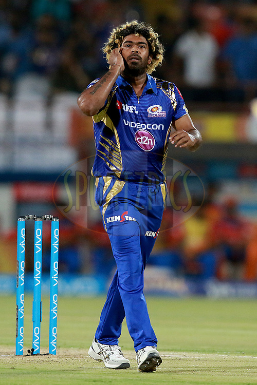Lasith Malinga of MI during match 35 of the Vivo 2017 Indian Premier League between the Gujarat Lions and the Mumbai Indians  held at the Saurashtra Cricket Association Stadium in Rajkot, India on the 29th April 2017<br /> <br /> Photo by Rahul Gulati - Sportzpics - IPL