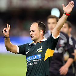 DURBAN, SOUTH AFRICA - MAY 31: Referee Jaco Peyper (South Africa) during the Super Rugby match between Cell C Sharks and  DHL Stormers at Growthpoint Kings Park on May 31, 2014 in Durban, South Africa. (Photo by Steve Haag/Gallo Images)
