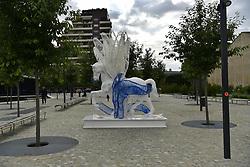May 3, 2019 - Milan - Leonard Horse Project, Design horses enter Citta 'Cavallo Eolonard by Daniele Papuli in Piazza Olivetti (Duilio Piaggesi/Fotogramma, Milan - 2019-05-02) p.s. la foto e' utilizzabile nel rispetto del contesto in cui e' stata scattata, e senza intento diffamatorio del decoro delle persone rappresentate (Credit Image: © Duilio Piaggesi/IPA via ZUMA Press)
