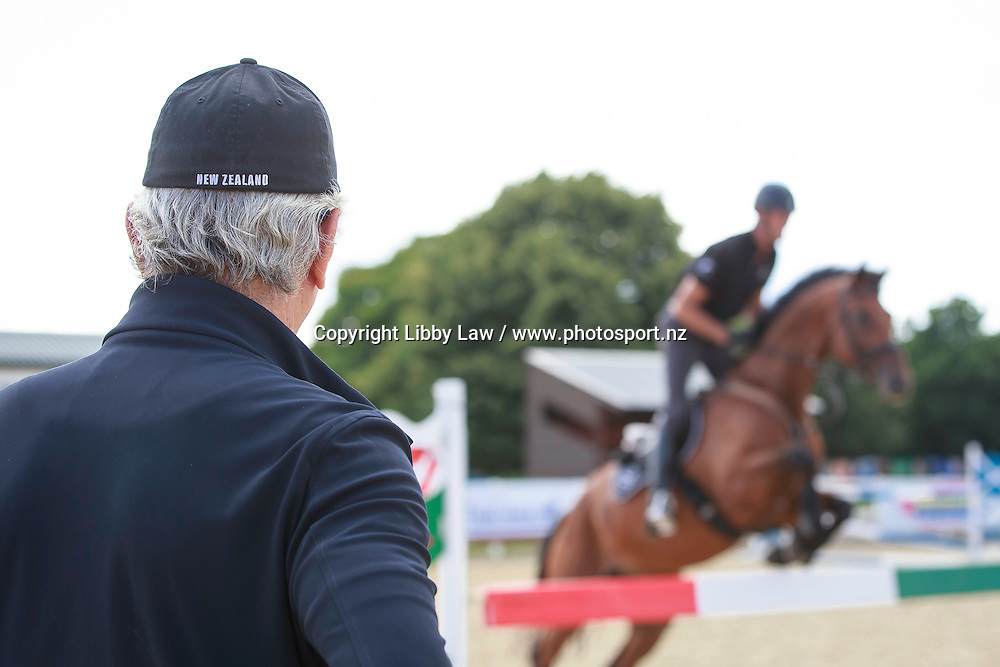 NZL-Sir Mark Todd (LEONIDAS III) during Showjumping training with Luis Alvarez Cervera (ESNZ High Performance Jumping Coach): New Zealand Olympic Equestrian Eventing Team Camp, David Broome Event Centre, Crick, South Wales, United Kingdom (Wednesday 20 July) CREDIT: Libby Law/ESNZ COPYRIGHT: LIBBY LAW PHOTOGRAPHY