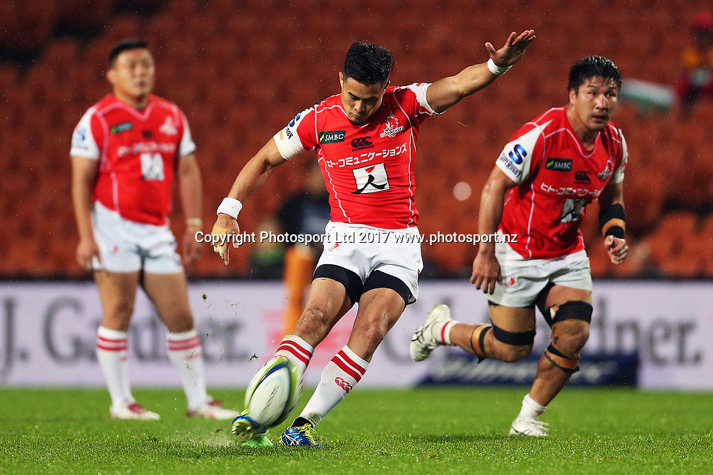 Sunwolves reserve Yu Tamura kicks at goal during the Super Rugby rugby match - Chiefs v Sunwolves played at FMG Stadium Waikato, Hamilton, New Zealand on Saturday 29 April 2017.  Copyright photo: Bruce Lim / www.photosport.nz