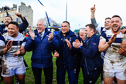 Bristol Bears Chairman Chris Booy, DOR Pat Lam, Owner Steve Lansdown and  assistant coach Conor McPhillips celebrate in the huddle after Bristol Bears win 13-19 - Rogan/JMP - 01/03/2020 - RUGBY UNION - The Recreation Ground - Bath, England - Bath Rugby v Bristol Bears - Gallagher Premiership Rugby.