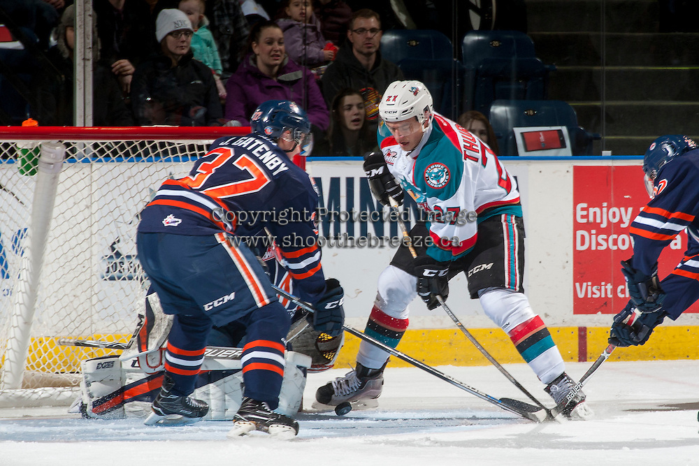 KELOWNA, CANADA - JANUARY 7:  Calvin Thurkauf #27 of the Kelowna Rockets tries to score a goal against the Kamloops Blazerson January 7, 2017 at Prospera Place in Kelowna, British Columbia, Canada.  (Photo by Marissa Baecker/Shoot the Breeze)  *** Local Caption ***