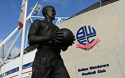 View of the Statue of Nat Lofthouse - Photo mandatory by-line: Richard Martin-Roberts/JMP - Mobile: 07966 386802 - 14/02/2015 - SPORT - Football - Bolton - Macron Stadium - Bolton Wanderers v Watford - Sky Bet Championship