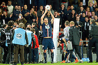 Joie Zlatan Ibrahimovic - Trophee 100eme but - 08.04.2015 - Paris Saint Germain / Saint Etienne - 1/2Finale Coupe de France<br /> Photo : Andre Ferreira / Icon Sport