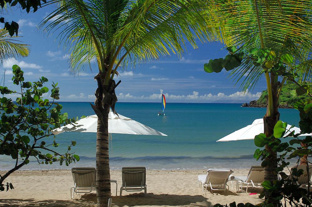 Beach view from Beach Suite at Carlisle Bay Resort, Antigua, Caribbean Island.