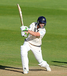 Middlesex's James Franklin cuts the ball off the bowling of Somerset's Abdur Rehman. - Photo mandatory by-line: Harry Trump/JMP - Mobile: 07966 386802 - 27/04/15 - SPORT - CRICKET - LVCC Division One - County Championship - Somerset v Middlesex - Day 2 - The County Ground, Taunton, England.