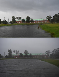 WILMINGTON, Sept. 14, 2018  - Wilmington, NC, USA - The combo photo taken on Sept. 13, 2018 and Sept. 14, 2018 shows a house in Wilmington, North Carolina, the United States, before (up) and after Hurricane Florence comes ashore. Hurricane Florence on Friday morning made landfall in North Carolina coast as Category 1 storm, with gales and rains. (Credit Image: © Liu Jie/Xinhua via ZUMA Wire)