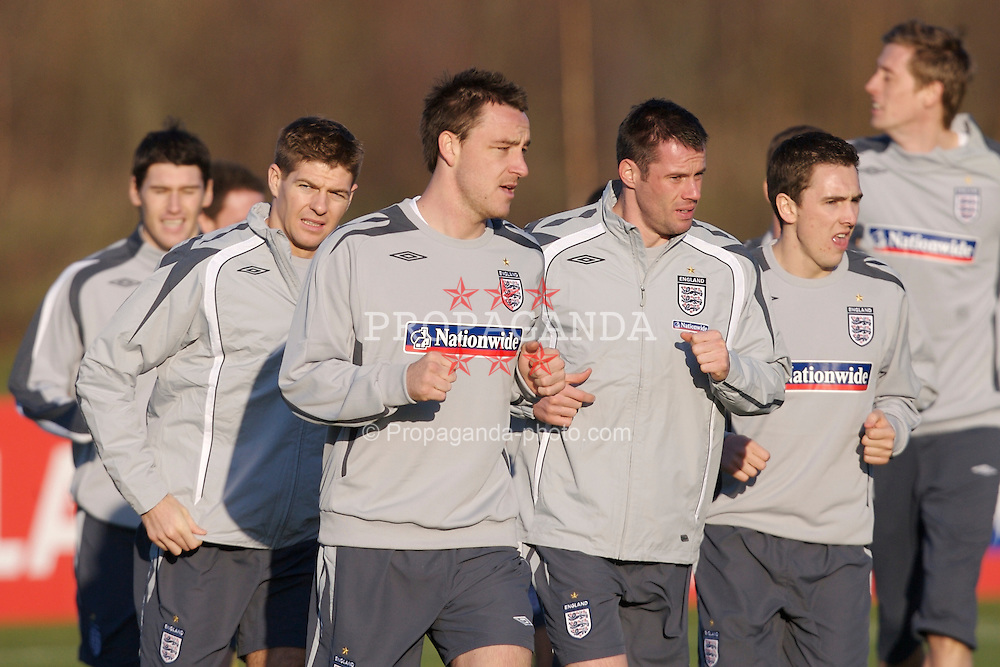 Manchester, England - Monday, February 5, 2007: England's captain Steven Gerrard, John Terry, Jamie Carragher and Stuart Downing training at Carrington ahead of the international friendly match against Spain on Wednesday. (Pic by David Rawcliffe/Propaganda)
