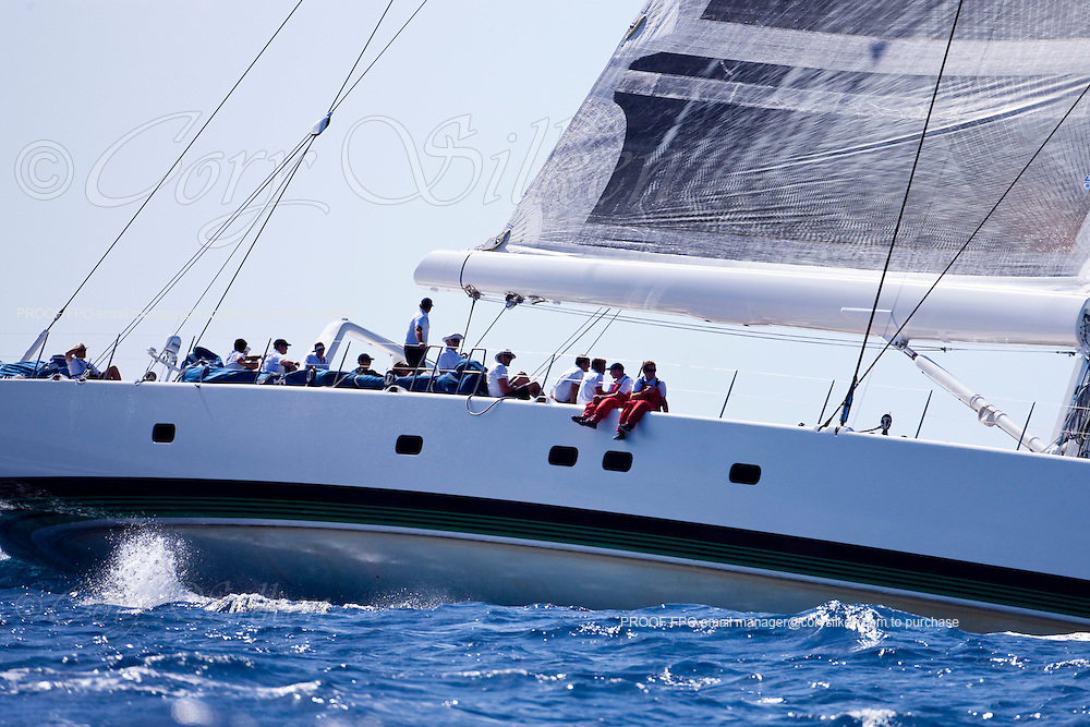 Visione sailing in The Superyacht Cup regatta, Antigua 2010, race one.