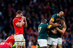 Wales Flanker Sam Warburton (capt) looks dejected after South Africa win the match 23-19 - Mandatory byline: Rogan Thomson/JMP - 07966 386802 - 17/10/2015 - RUGBY UNION - Twickenham Stadium - London, England - South Africa v Wales - Rugby World Cup 2015 Quarter Finals.