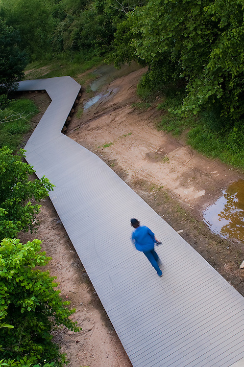 Woman walking near Chattahoochee River