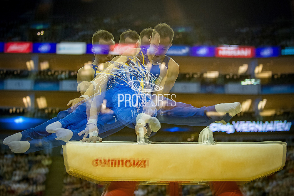 Oleg Verniaiev of the Ukraine (UKR) during his Pommel Horse routine at the iPro Sport World Cup of Gymnastics 2017 at the O2 Arena, London, United Kingdom on 8 April 2017. Photo by Martin Cole.