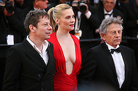 Roman Polanski, Emmanuelle Seigner, Mathieu Amalric, at Venus in Fur - La Venus A La Fourrure film gala screening at the Cannes Film Festival Saturday 26th May May 2013