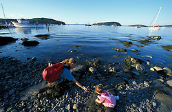 A mother and her young daughter enjoy the  views of Bar Harbor and the Porcupine Islands from the Shore Path.